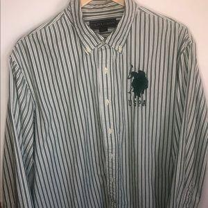 US Polo Assn USPA Long Sleeve Button Logo Shirt